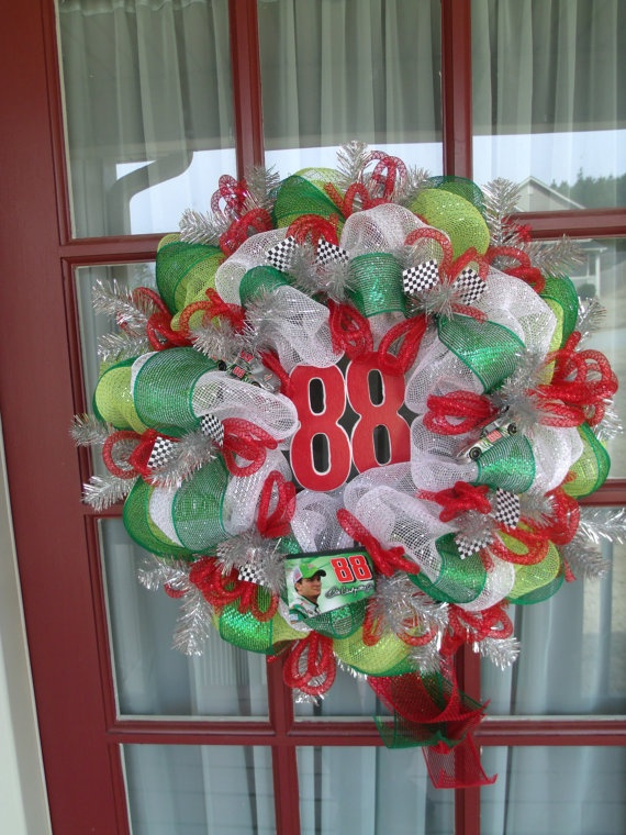 Dale Jr Nascar Deco Mesh Door Wreath by CrazyboutDeco on Etsy, $69.00