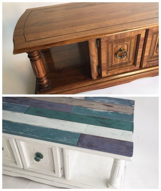 FURNITURE MAKEOVER: How to Create a Distressed, Faux Farmhouse Shiplap Finish  Not ready to commit to a whole wall but love the shiplap look? Learn how to add a faux plank look to furniture and distress new wood to give a weathered wood effect! Cathie & Steve use FolkArt Milk Paint and FolkArt Home Decor Chalk to upcycle an 80s coffee table into a coastal inspired statement piece in the latest episode of Furniture Flip.