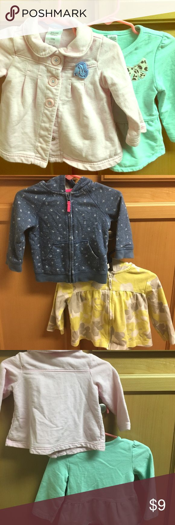 Bundle 4 jackets 12 mths good condition Bundle jacket all 12 months  1) teal no hoodie button up with animal print bow   2) pink button up jacket with a blue flower no hoodie 3) yellow and gray zip up hoodie 4) blue zip up hoodie with little flowers Jackets & Coats