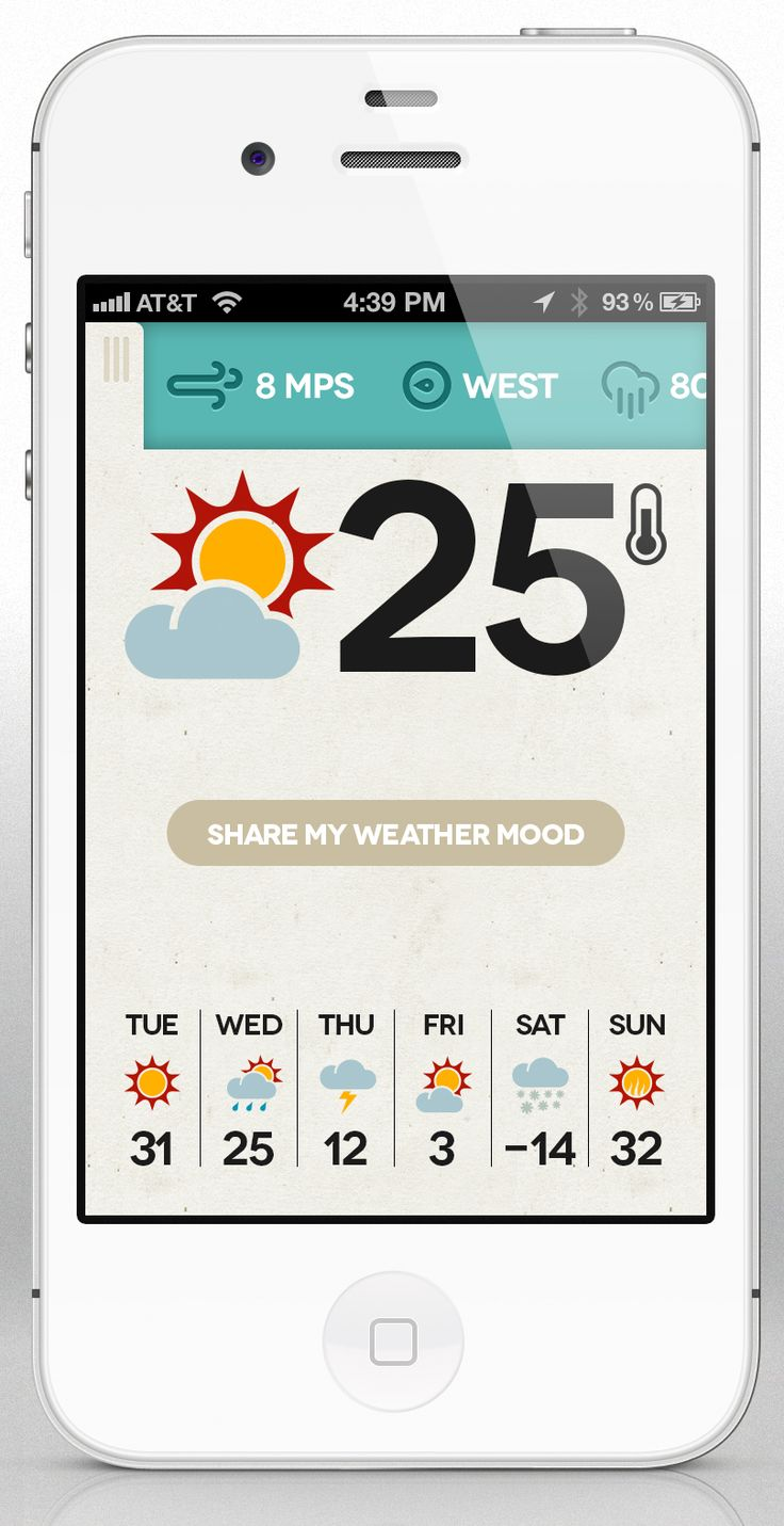 Love the colours and retro feel! Dribbble - dribbble-weather-app-mobile-details-big.jpg by Cesar Zeppini