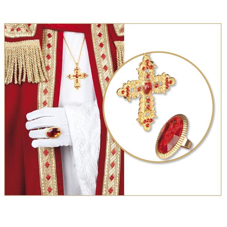 Set Ring En Ketting Sint Afmeting:verpakking 8 x 18 cm, kruis 5 x 7 cm, ringsteen 2,5 x 4 cm - Set Ring En Ketting Sint