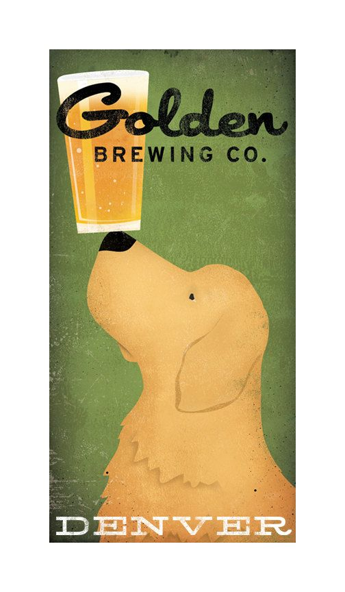 GOLDEN RETRIEVER Brewing Company Craft Beer graphic art giclee print 8x16 inches Signed Made to Order
