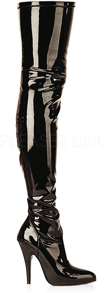 Dominatrix Plain Stretch Zipper Thigh High Stiletto Heel Boots Shoes Adult Women #Pleaser #CowboyWestern