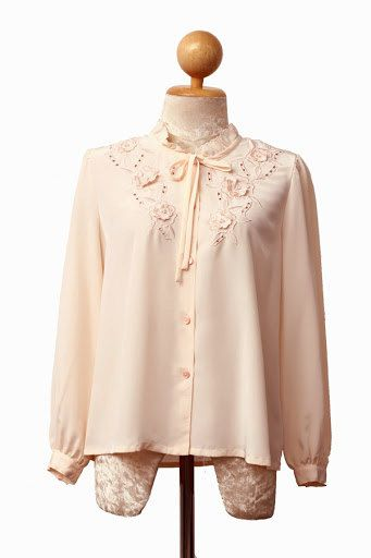 Pale Pink Embroidered Floral Blouse with by ClementinesBoutique, $12.00