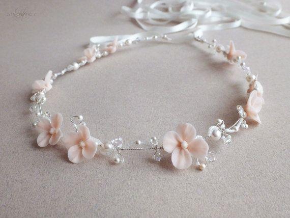 Beaded Swarovski Crystal Bridal Headband Soft Pink by LysaCreation