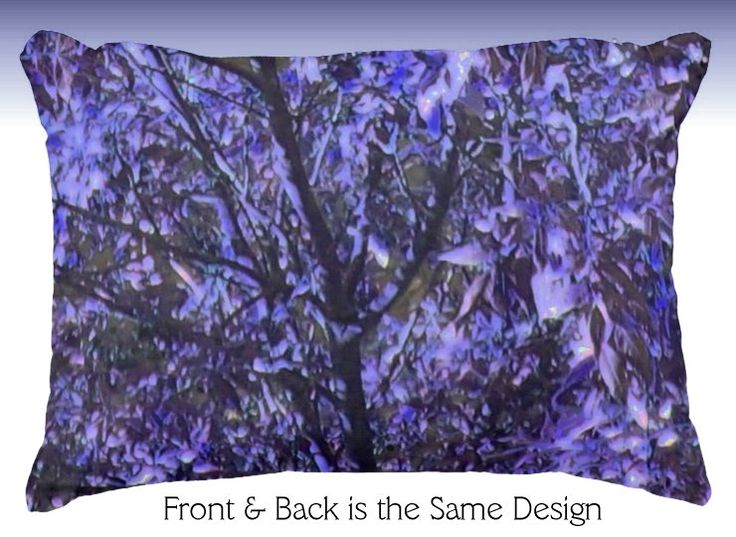 Accent Pillow with Purple Trees - Digital Art