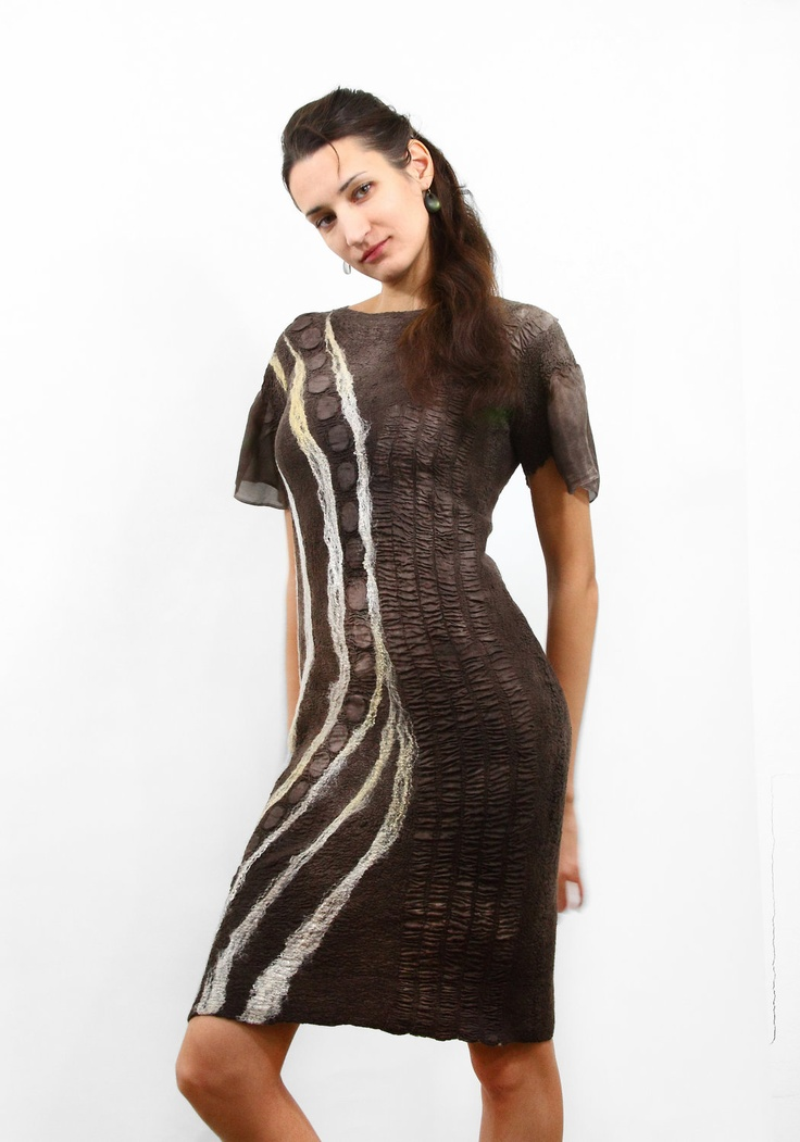 Felted dress Brown OOAK 2in1 reversible everyday womens chocolate dress free shipping nunofelting texture christmas preview gift guide. $349.00, via Etsy.