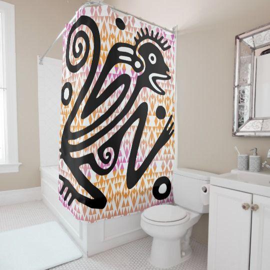 Vintage Aztec Monkey Shower Curtain