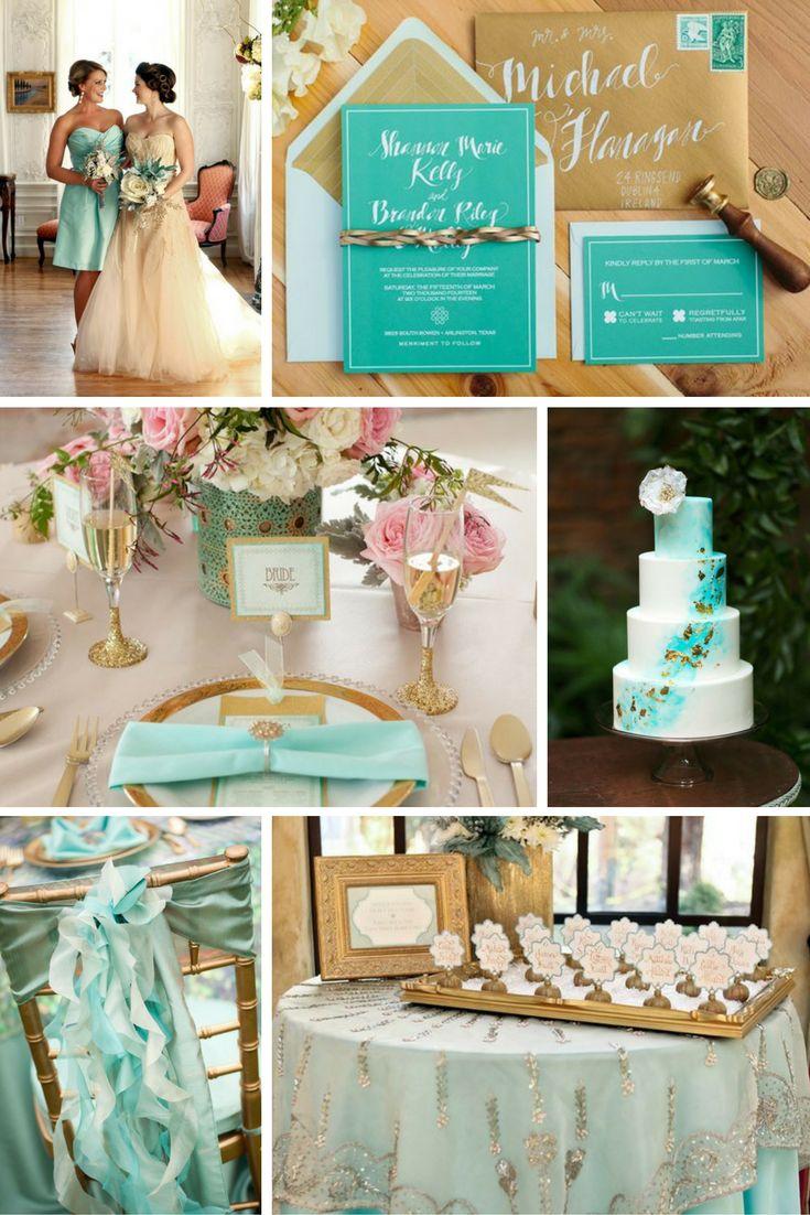 Türkiz és arany | Esküvői színek 2017 - 15 trendi színkombinációt mutatunk a tökéletes esküvői dekorációhoz. Inspirálódj velünk!
