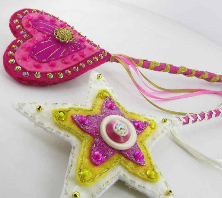 Gorgeous handmade felt & button wands for that little fairy in your life.