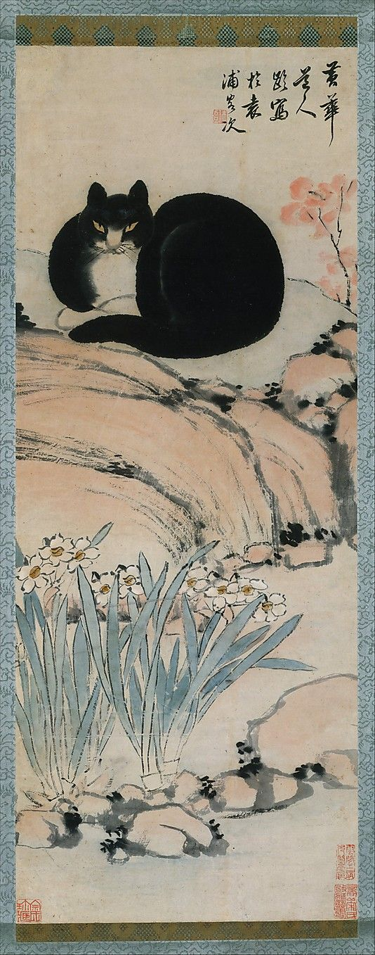 Zhu Ling (Chinese, active ca. 1820–1850).  Black Cat and Narcissus. 19th century | China. The Metropolitan Museum of Art, New York. Rogers Fund, 1956 (56.129.3) #cats