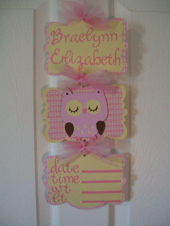 Baby Girl Owl Banner  Girl Owl Hospital Door by KatlinLee123,