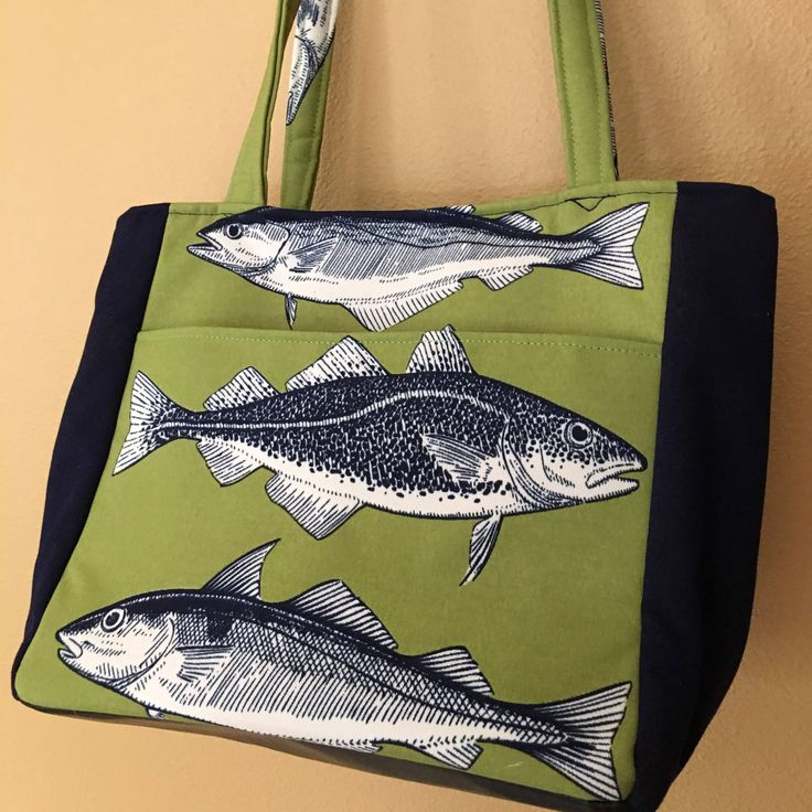 Beth##1700, Green and Blue Fish Tote, Lake House Bag, Fishing Bag, Knitting Bag, Large Project Tote, Knitting Tote, Shoulder Bag, Purses, by 3greensisters on Etsy