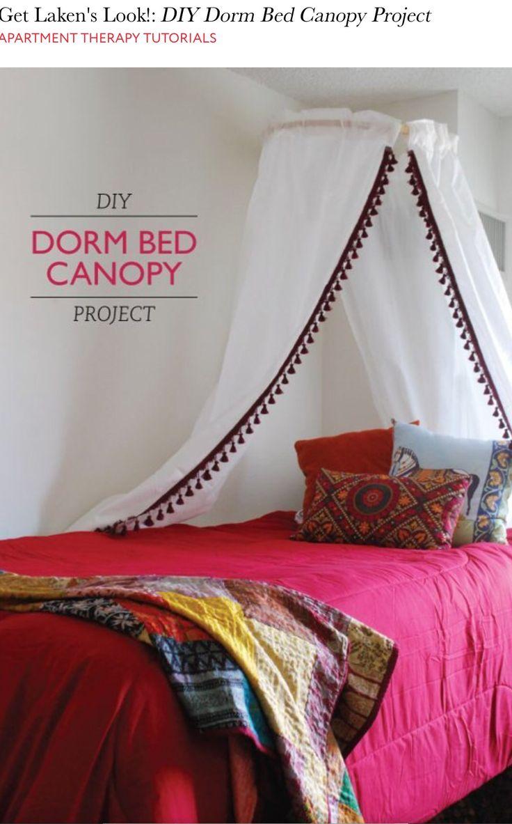 Dorm bed canopy  I wanna live here  Pinterest  Dorm  ~ 100352_Dorm Room Diy Canopy