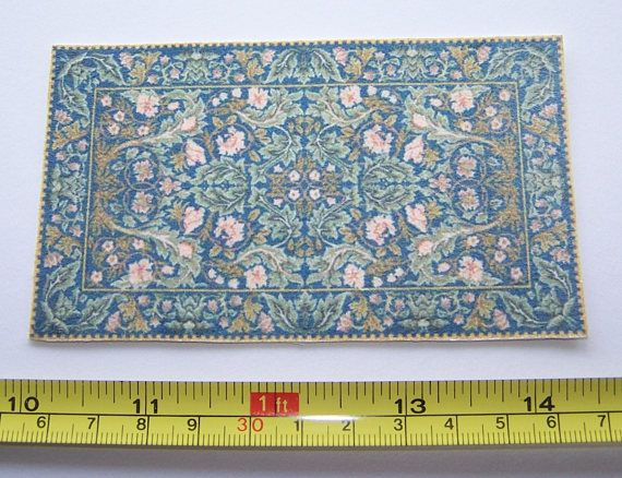 Dollhouse Rug Printed on Faux Suede Fabric Acanthus Blue