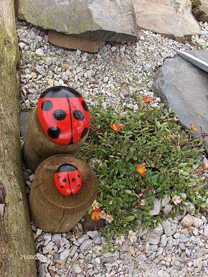 Pintar piedras para decorar jardín: unas mariquitas