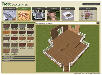 Trex Deck Designer  With a few clicks of your mouse customize your deck with different colors, textures, design shapes and outdoor living accessories to create the outdoor living space of your dreams.