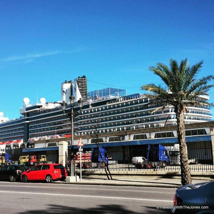 Holland America Nieuw Amsterdam cruise ship in Cadiz, Spain