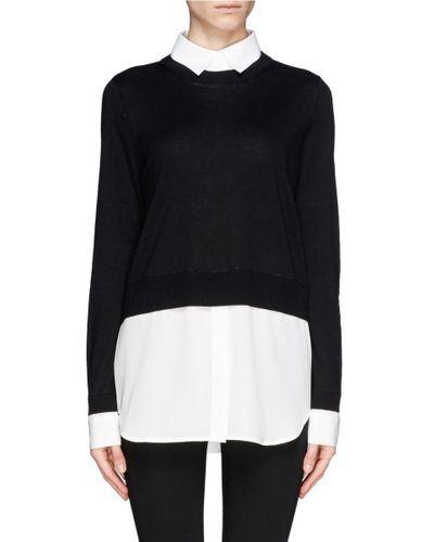 Sandro   Black 'seul' Combo Shirt Sweater   Lyst