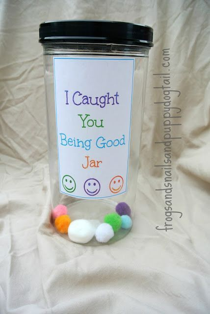 I Caught You Being Good Jar- This would be great for church, traveling, or just at home. They each have their jar and put one in if they are good.