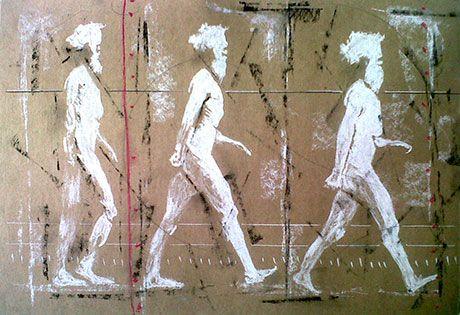 Artist: Riaan van Zyl-agmen-moving-A3-ou-kar-olie-houtskool-en-pastel-op-papier