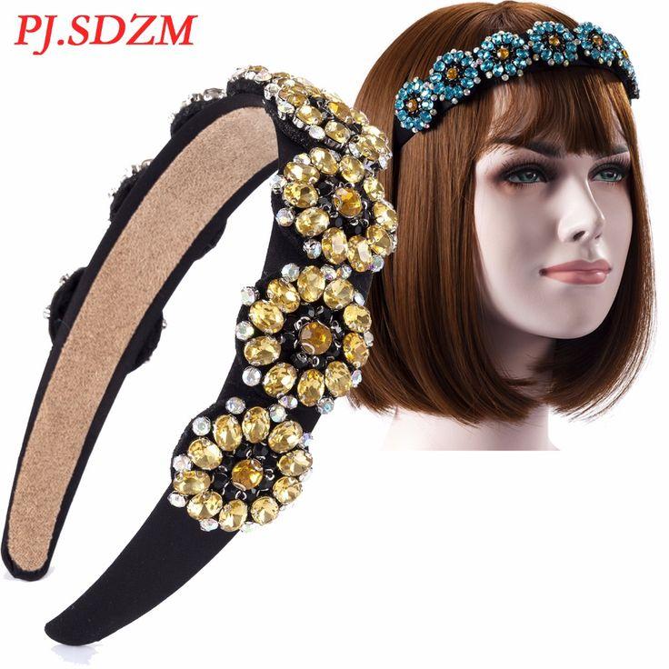 >> Click to Buy << PJ.SDZM Exquisite Rhinestone Hairbands Sparkling Sunflower Headwear Crystal Flowers Headbands Girl Luxury Hair Accessory #Affiliate