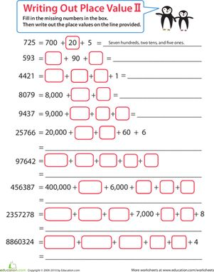 Place Value Worksheets place value worksheets to ten thousands : 1000+ images about Math on Pinterest | First grade math, Mental ...