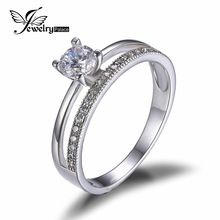 JewelryPalace 0.6ct Cubique Zircone Anniversaire Wedding Band Bague de Fiançailles Ensemble Garde Enhancer Réel 925 Bijoux En Argent Sterling