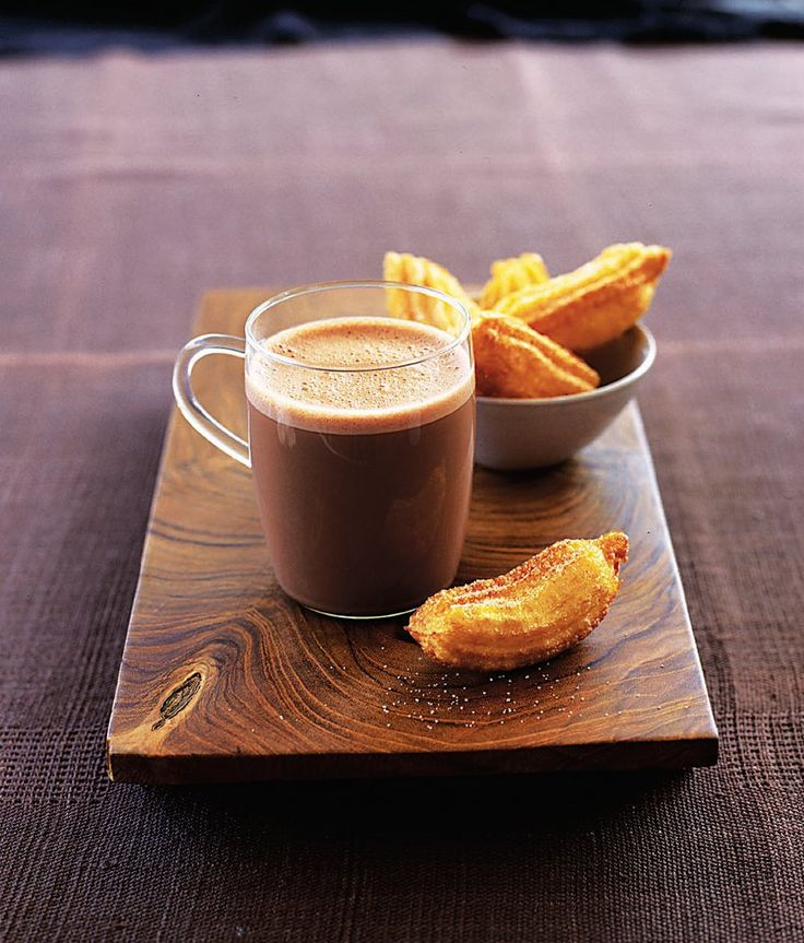 Churros are sweet doughy snacks that originate from Spain. These treats are fried then dipped in rich hot chocolate – very nice and a bit naughty.