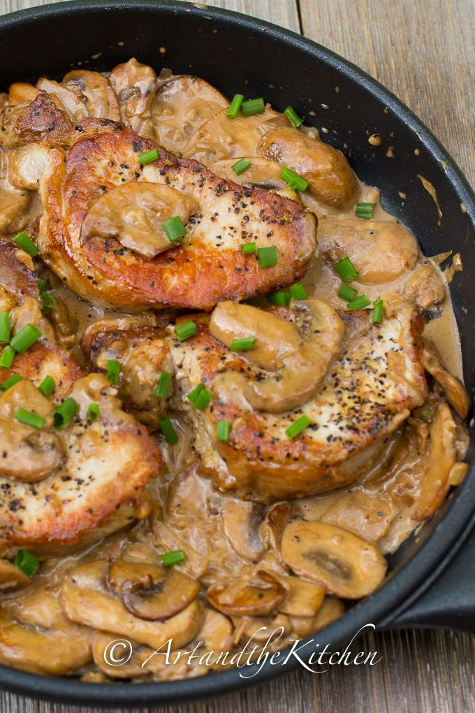 Pork Chops with Brandy Mushroom Sauce | Art and the Kitchen - Pork chops in a savoury mushroom brandy sauce. Gourmet flavour, yet so easy to prepare.