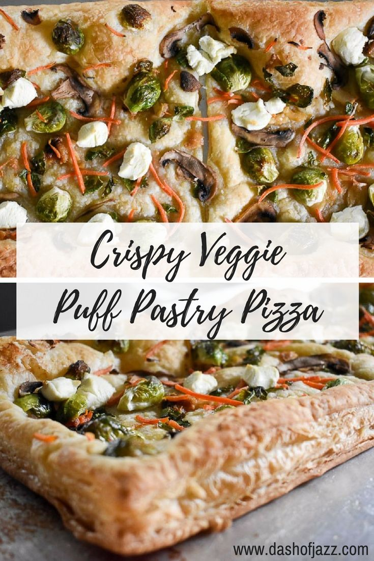 This crispy veggie puff pastry pizza is easy, delicious, and ideal for any meal of the day. Make one in 30 minutes or less! Recipe by Dash of Jazz via @dashofjazzblog