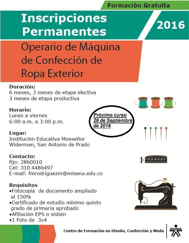 Cursos de confección industrial certificados por el SENA. en diferentes puntos de la ciudad de Medellín. Inscripciones permanentes