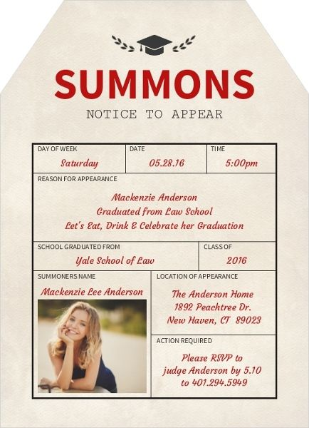Summons Notice Law School Graduation Invitation