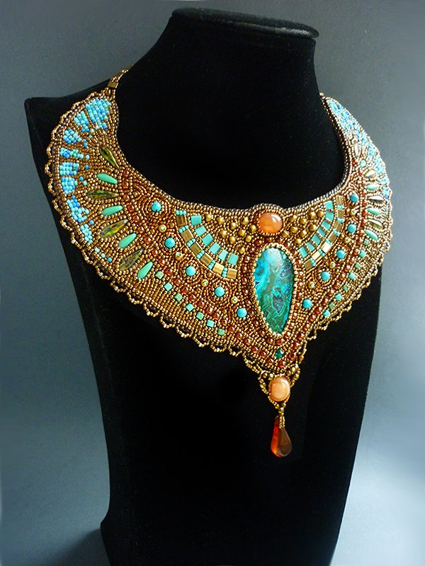 Cleopatra -Necklace Bead Embroidery Art.