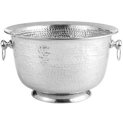 Generously sized hammered beverage tub or double as a cache for flowers...