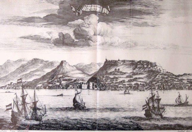 ZANTE . in 1678. Drawn by Pieter Schei. Engraver Daniel Stopendaal . Published in the book of Olfert Dapper  Perigrafi tou Morea, Amsterdam ...