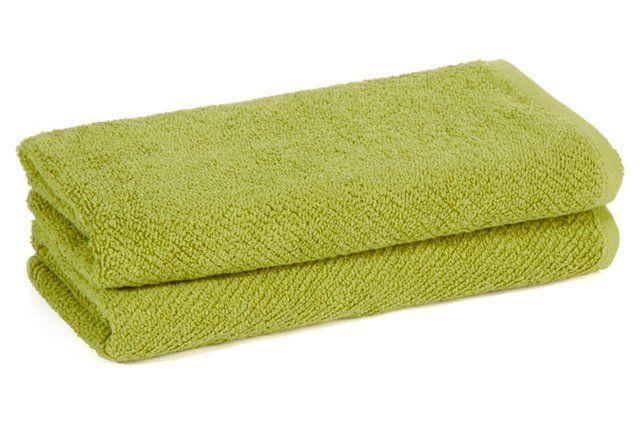 S/2 Oversize Hand Towels, Green Tea