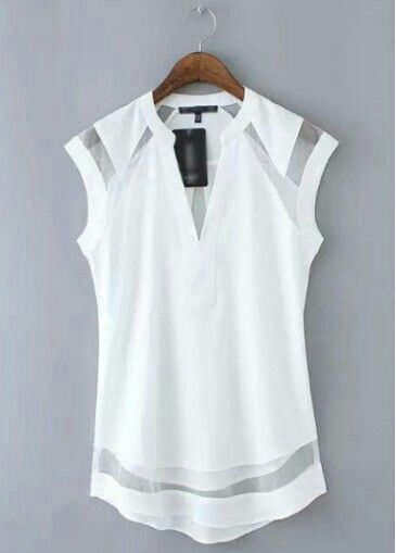 White split neck top with mesh accents - pair with skinny jeans and black leather jacket for casual night out?