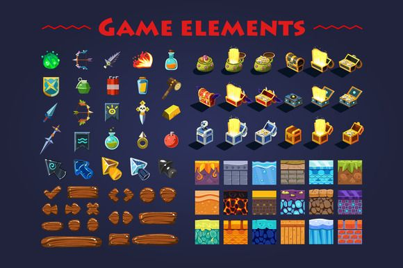 Game elements by TopVectors on @creativemarket