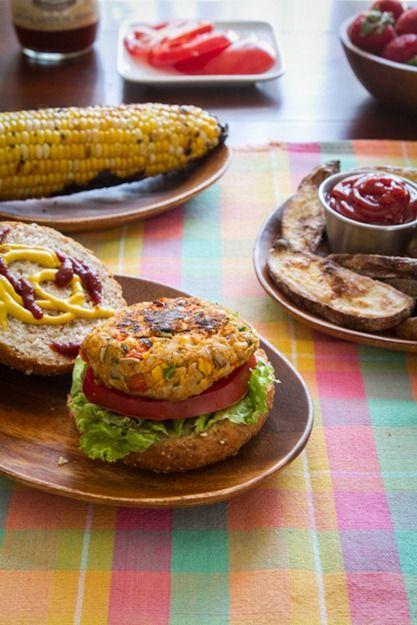 Spicy BBQ Chickpea Burgers & Lightened Up Crispy Fries. Hello summer food!! #health #food #recipe