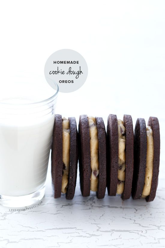 Homemade Cookie Dough Oreos from www.loveandoliveoil.com