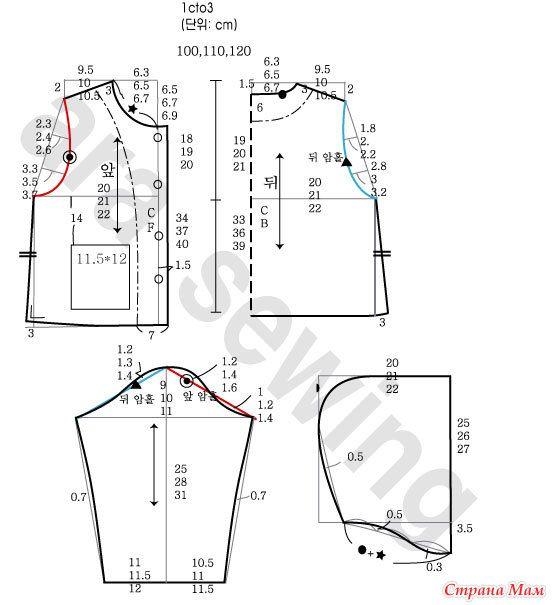 Los patrones de la ropa de tamaño de los niños ... 100-130 ..