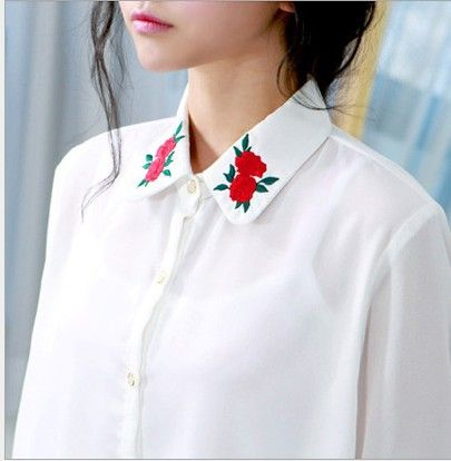 New 2015 Korean Fashion Women Blouse Shirt Full Sleeve Turn-down Collar Rose Pattern Embroidery Blouse Tops Free Shipping 715