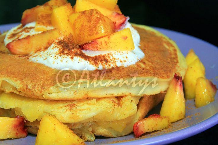 Terapia do Tacho: Panquecas de iogurte com compota de pêra e pêssego fresco (World Pancake Day 2015) (Yogurt pancakes with pear compote and fresh peach - World Pancake Day 2015)  #WorldPancakeDay 2015