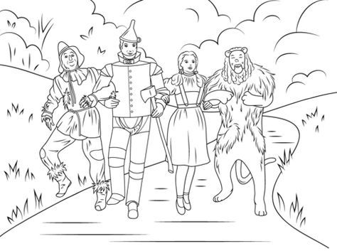 Scarecrow, Tin Man, Dorothy And Cowardly Lion coloring page from Wizard of Oz category. Select from 21886 printable crafts of cartoons, nature, animals, Bible and many more.