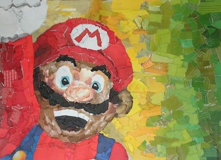 this collage piece is very colourful and shows amazing skill with the usage of paper and its strengths and limitations, i really like this piece and its vibrancy: Mario Collage, Art Create, Nintendo Collage, Collage Art, Paper Scrap, Rooms Art, Color Tones, Super Mario, Art Attack