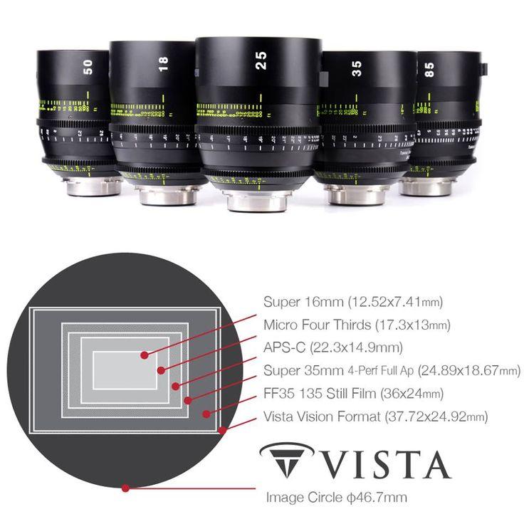 Tokina Vista Cinema Prime T1.5 Serie mit übergroßem 46,7mm Bildkreis: Diese revolutionären Objektive verfügen über einen übergroßen 46,7mm Bildkreis, der diese mit nahezu jedem Filmkamera-Sensor kompatibel macht. Dazu gehören neben 35mm-Vollformat auch RED WEAPON 8K VV, Panavision Millennium DXL und VistaVision. Der Bildkreis ist so konzipiert, dass die gesamte Sensorfläche gleichmäßig belichtet werden kann.