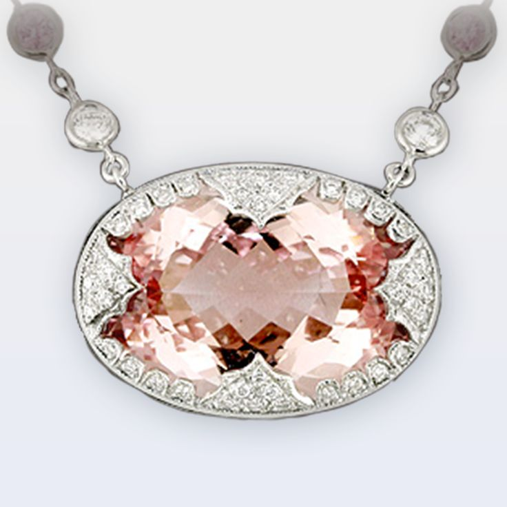 Morganite Pendant Surrounded by Delicate Filigree Lacy Diamond Frame – Peter Norman Jewelers