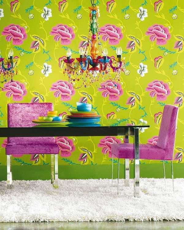 excellent funky wallpaper for house. Dining Room  Wallpaper Designs Lime Green Floral With Pink Chairs And Modern Table Shag Rug 343 best FUNKY WALLPAPER images on Pinterest Wall papers Paint