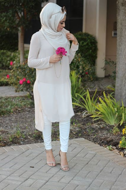 pastel tunic white hijab- Hijab looks by Sincerely Maryam http://www.justtrendygirls.com/hijab-looks-by-sincerely-maryam/